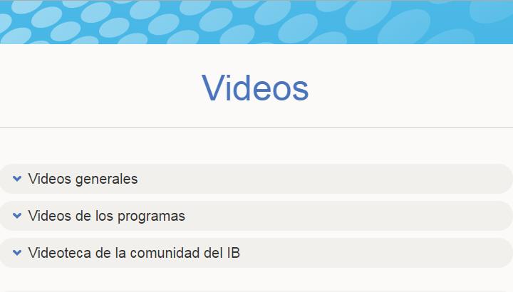 Captura de pantalla de la página de videos del IB